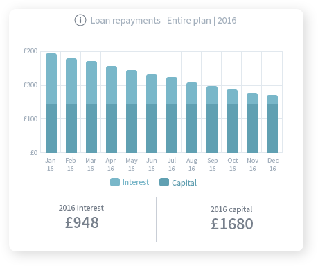 A monthly bar chart showing repayments of a loan over the course of a year broken down into interest and capital.